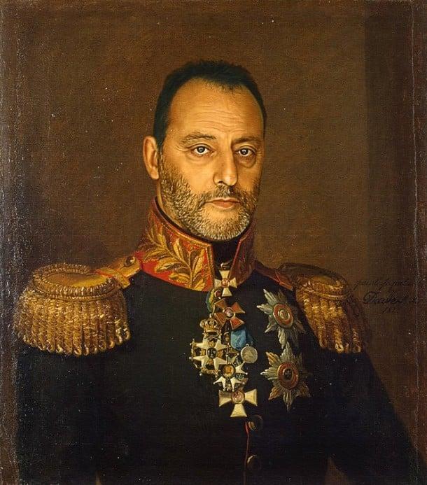 Jean Reno retratado por artista steve payne como militar