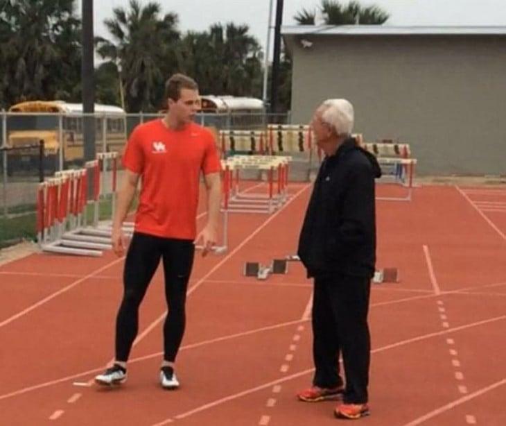 Tom en entrenamiento en la pista