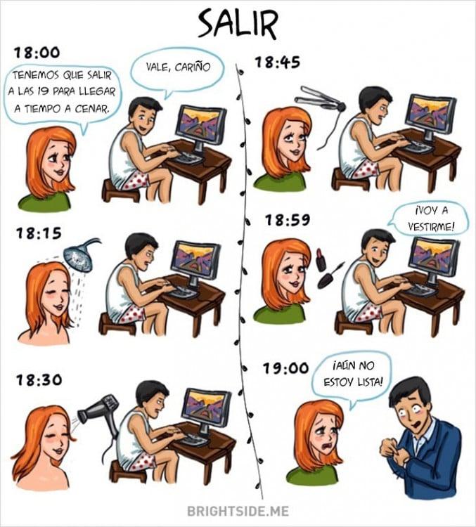 hora de salir Diferencias Hombres y mujeres