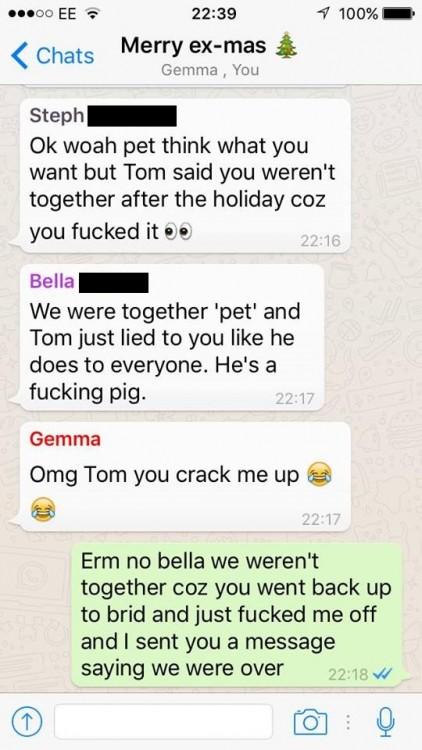 Conversación con sus ex en el mismo whatsapp
