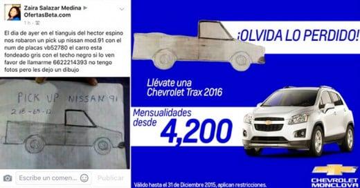 Chevrolet le regala una camioneta a la mujer del dibujo viral ¡por llegar a un 1 millón de likes!
