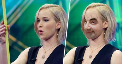 Divertida batalla de Photoshop con Jennifer Lawrence sosteniendo una cinta métrica
