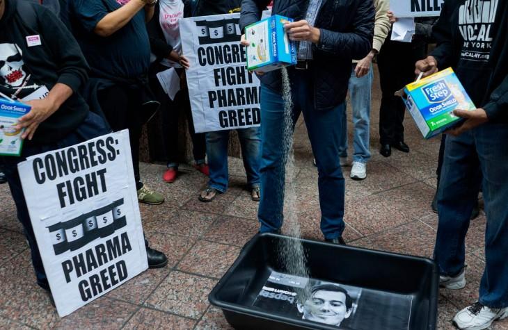 manifestación contra Martin Shkreli