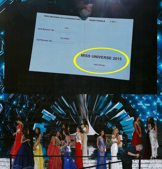 certamen Miss Universo 2015 mostrando a la pantalla el resultado final