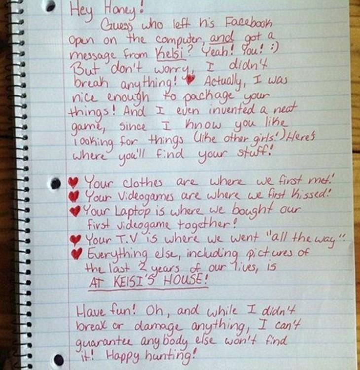 Carta para un novio infiel