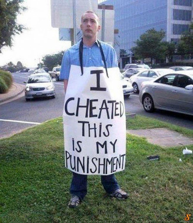Hombre castigado por infiel