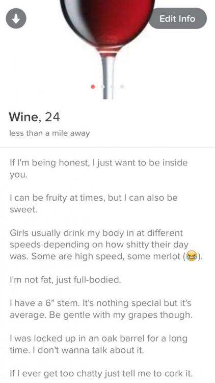 perfil de botella de vino en tinder
