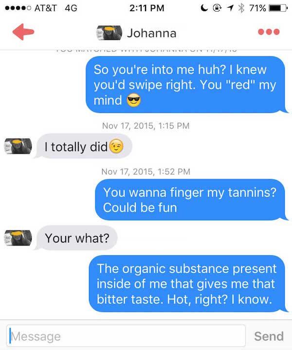 conversación botella de vino en tinder