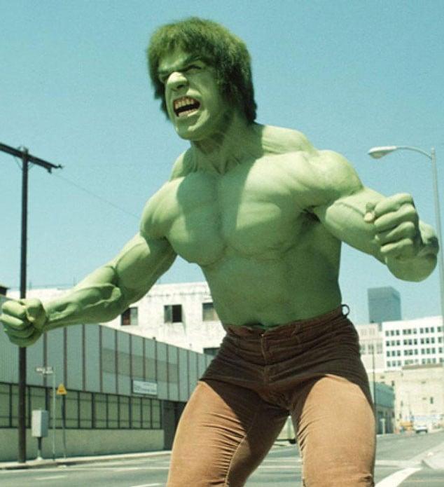Lou Ferrigno como el increíble Hulk