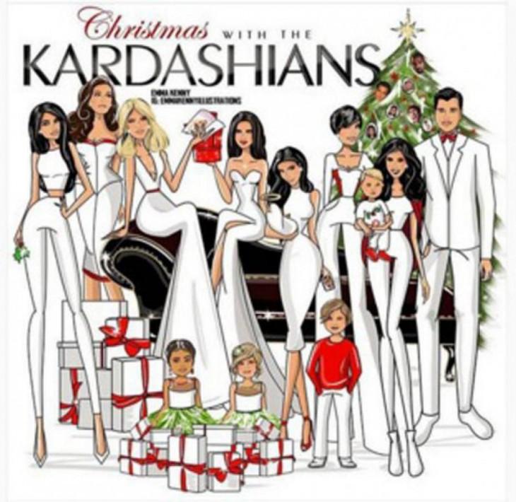 Ilustración navideña de los Kardashian