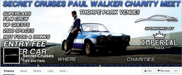 Invitación a celebración de Paul Walker
