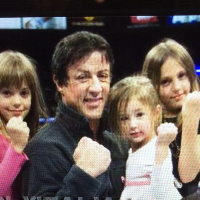 Stallone con sus hijas cuando eran pequeñas