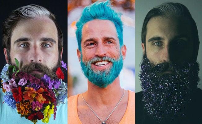 Barbas con flores, teñidas y con escarcha