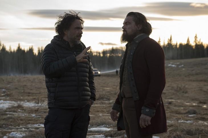 Iñárritu y di Caprio en el set