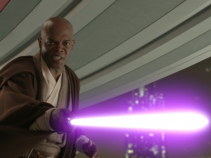 Samuel L Jackson (Mace Windu), 2005 and 2015.