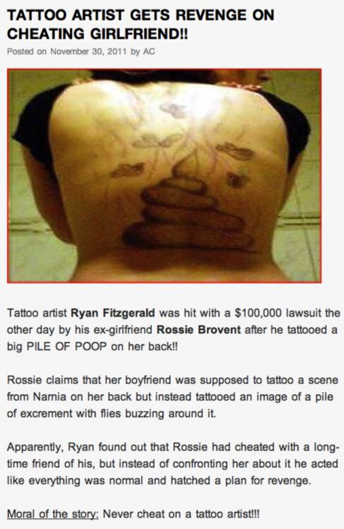 Venganza en tatuaje a novia infiel