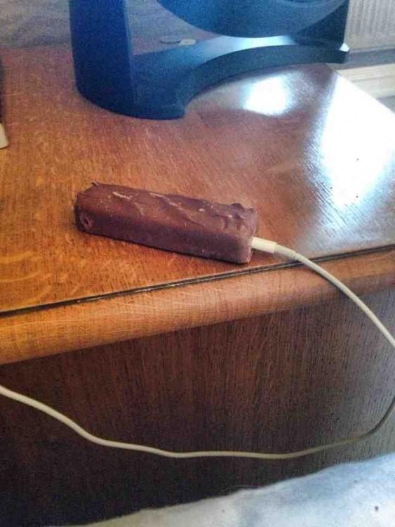 snickers de cargador de cel