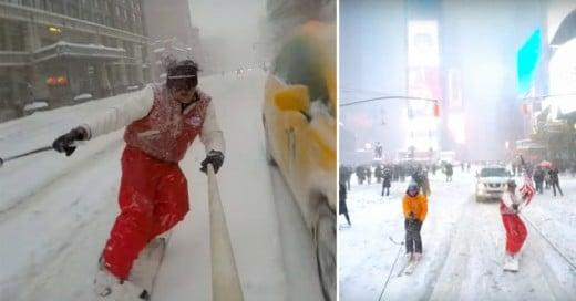 Estos hombres aprovecharon la nevada de Nueva York ¡Para hacer Snowboarding en las calles!