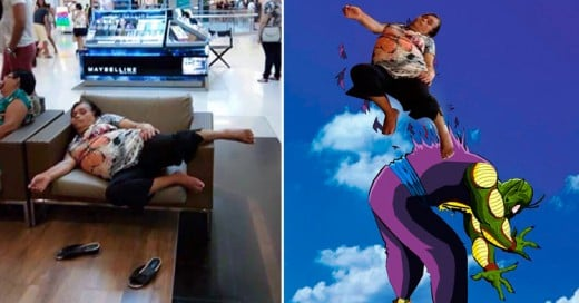 Señora se queda dormida en una plaza comercial e ¡Internet la trollea así!