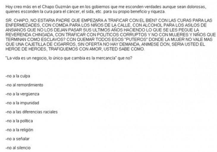 """captura de pantalla que muestra la carta de Kate del Castillo a """"El Chapo"""""""