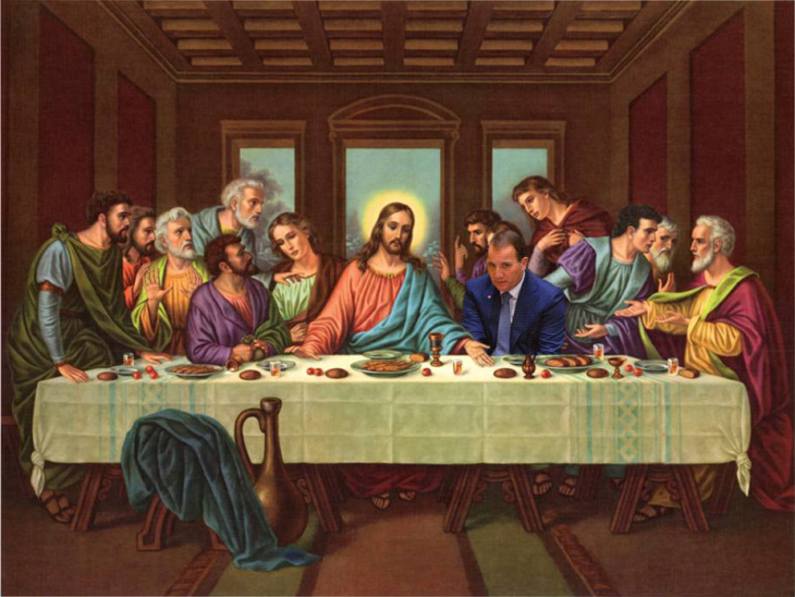 photoshop Primer Ministro de Suecia la última cena