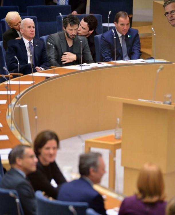 photoshop Primer Ministro de Suecia travolta, keanu