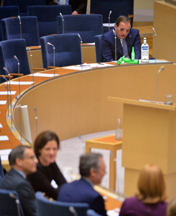 photoshop Primer Ministro de Suecia vodka
