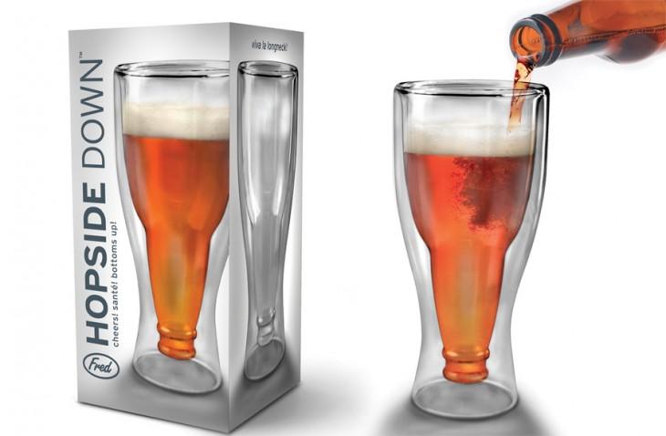 Vaso con forma de botella de cerveza