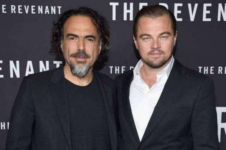 Alejandro González Iñárritu y Leonardo DiCaprio en estreno de The Revenant