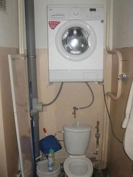 secadora encima del escusado