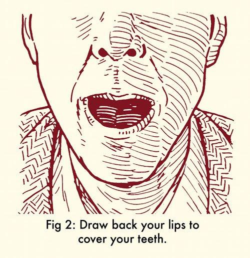Esuqema para silbar con labios sobre los dientes