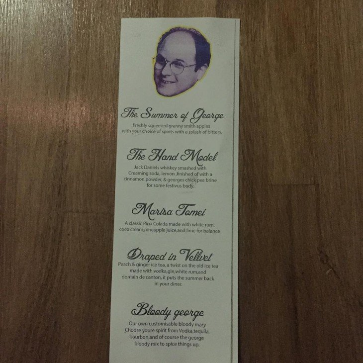 Menú del restorán en honor a George Costanza