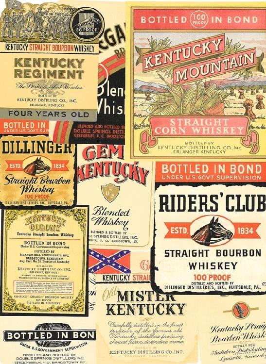 Etiquetas antiguas de whiskey