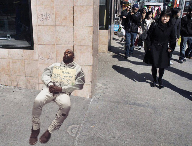 Kanye West dormido bebé photoshop homeless