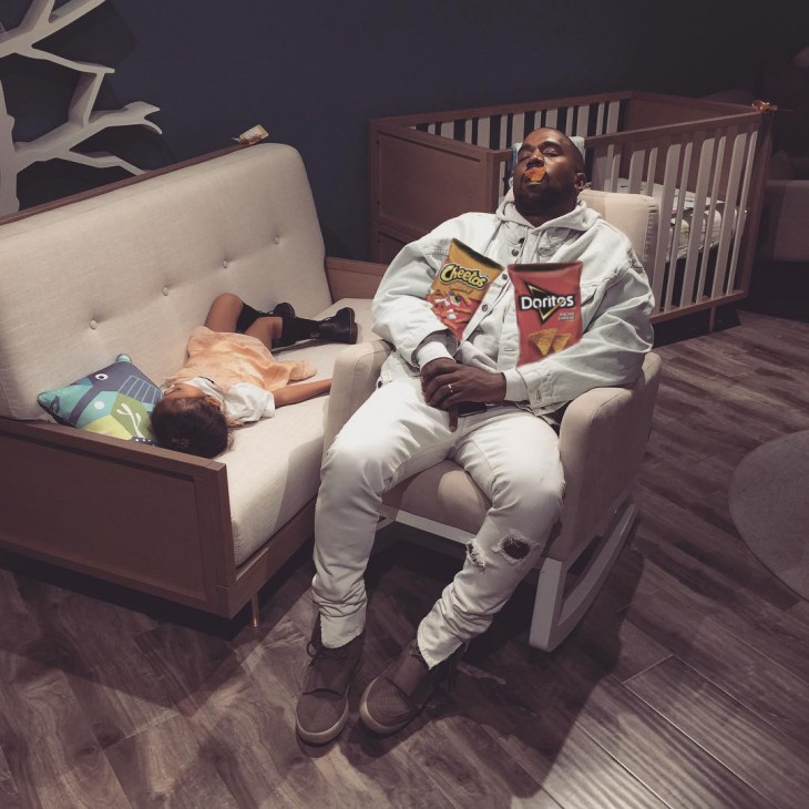 Kanye West dormido bebé photoshop doritos
