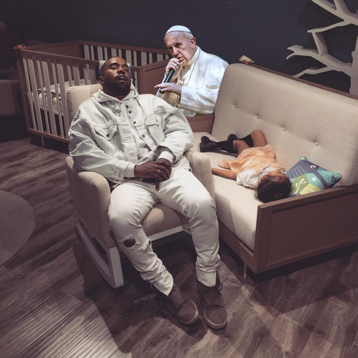 Kanye West dormido bebé photoshop papa