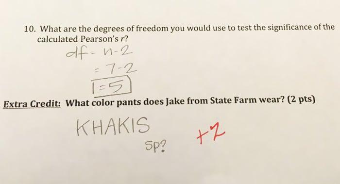 puntos extra en el examen con preguntas graciosas