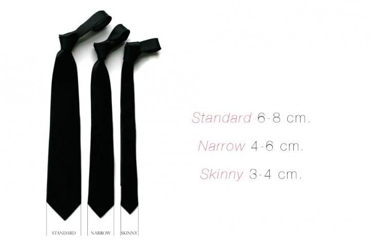 Distintos tamaños de corbata