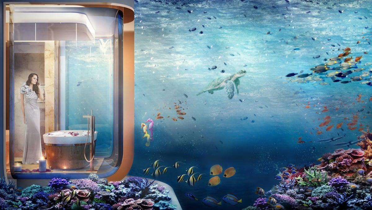 Casas de lujo a la venta en dubai est n sumergidas en el for El hotel que esta debajo del agua