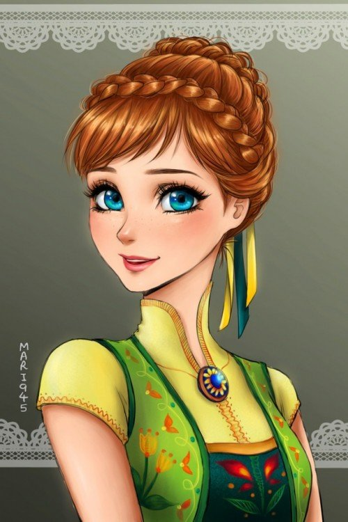 princesas disney anime, Anna