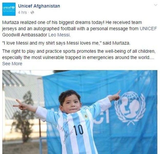 Niño afgano recibe playera autografiada por Messi