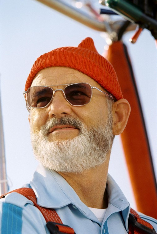 Bill Murray con lentes y gorro rojo
