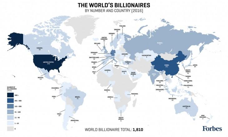 Mapa de billionaires según Forbes