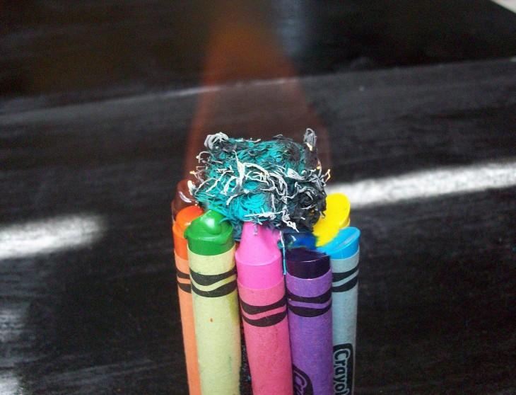 Crayolas usadas como velas