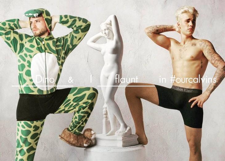 Lorenz Valentino vestido de dinosaurio hace Photoshop con celebridades
