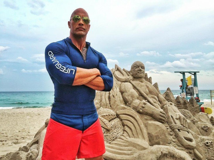 The Rock en el set de Baywatch