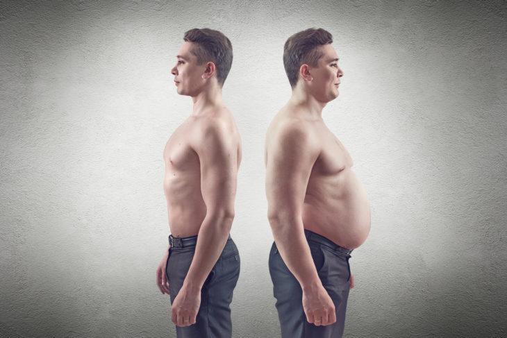 hombre flaco junto a hombre gordo
