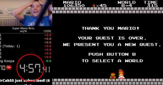 ¡Hay un nuevo récord: termina el Super Mario Bros en 4 minutos con 57.260 segundos!