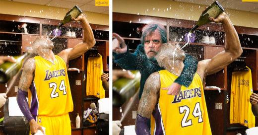 Kobe Bryan celebra con champaña por su último juego e Internet se burla de él