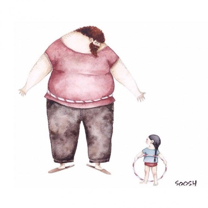 Ilustraciones de padre e hija